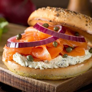 Bagel Box with Salmon - Bagels & Lox Box
